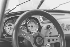 Grey and Black Car Steering Wheel Stock Photos