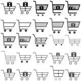 Grey and black carts -  icons. Grey and black carts - set  icons Royalty Free Stock Photos