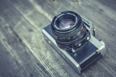 Grey and Black Compact Camera Royalty Free Stock Images