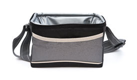 Grey and black lunch pack carrier opened on white background Royalty Free Stock Image