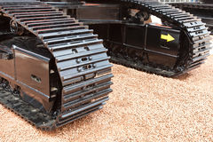 Grey and black metall caterpillar band of digger Royalty Free Stock Photo