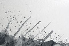 Grey and black watercolor with splashes on a paper texture background stock illustration