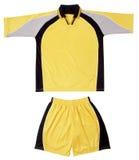 Grey, black yellow sports uniform Stock Photos