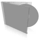 Grey blank cd case and disc vector illustration