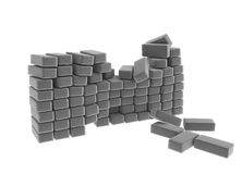 Grey Block Wall. Broken grey block wall, over white, isolated Royalty Free Stock Photography