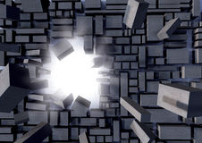 Grey blocks breaking away Stock Images