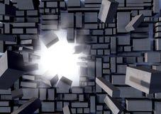 Grey blocks breaking away stock images
