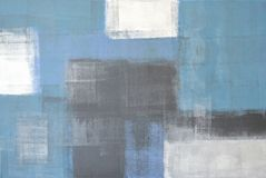 Grey and Blue Abstract Art Painting Stock Image