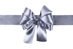 Grey blue bow photo made from silk Stock Image