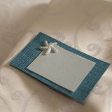 Grey and blue card with sea star Stock Photos