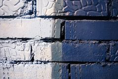 Grey and blue color painted brick wall texture stock photo