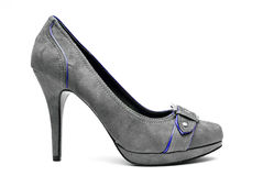 Grey and Blue High Heels on a White Background Stock Image