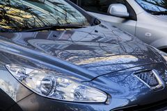 Grey blue peugeot 406 Royalty Free Stock Image
