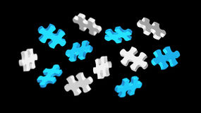 Grey and blue puzzle pieces '3D rendering'. Grey and blue puzzle pieces flying on white background '3D rendering Royalty Free Stock Image