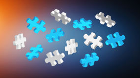 Grey and blue puzzle pieces '3D rendering'. Grey and blue puzzle pieces flying on white background '3D rendering Royalty Free Stock Photo