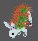 Grey blue rabit with carrot Royalty Free Stock Image
