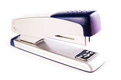 Grey/blue stapler for business documents Royalty Free Stock Photo