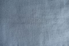 Grey blue unprinted linen fabric. From above Royalty Free Stock Image