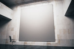 Grey board side. Side view of blank grey board in concrete interior with swivel-chair. Mock up, 3D Render Stock Image