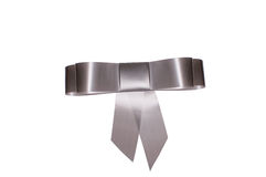 Grey bow for gift Royalty Free Stock Image