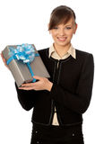 Grey box with blue bow as a gift Stock Images