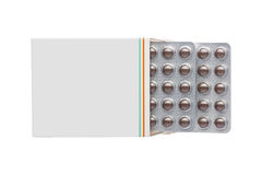 Grey box with brown pills blister pack Stock Images
