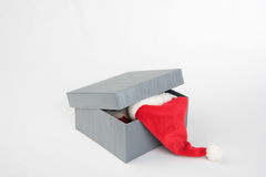 Grey box with presents. Grey box with red presents for xmas Stock Photos