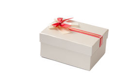 GREY BOX WITH RED BOW Royalty Free Stock Images