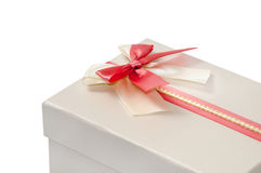 GREY BOX WITH RED BOW Stock Photos