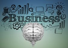 Grey brain with black business doodles against blue green background Royalty Free Stock Image