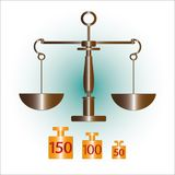 Grey  brass scales libra, legal, justice. On white background Royalty Free Stock Photography