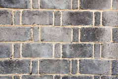 Grey brick wall. Arrangement of grey bricks wall background Royalty Free Stock Image