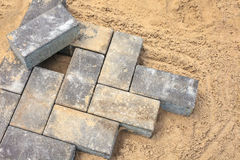 Grey bricks on a construction site Stock Image