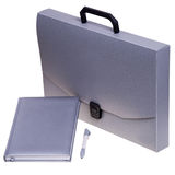Grey briefcase with accessories Stock Photography