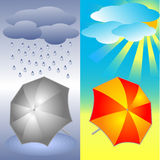 Grey and bright red umbrella Royalty Free Stock Images