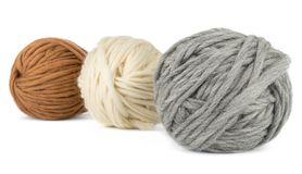 Three balls of yarn on white background Royalty Free Stock Images