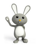 Grey bunny with hi pose. 3d bunny with hi pose Royalty Free Stock Photo