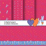 Grey bunny pattern at pink background. Set of 5 background. For print wallpapers. Bright rabbit with heart texture for vector illustration