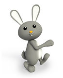 Grey bunny with walking pose. 3d bunny with walking pose Stock Image