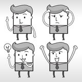 Grey business man. Character design,emotion ,cartoon Royalty Free Stock Photography