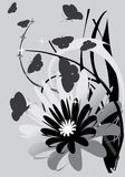 Grey butterflies and big flower Stock Photo