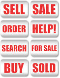 Grey buttons set Royalty Free Stock Photos