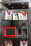 Grey cabinet with medals Stock Photos