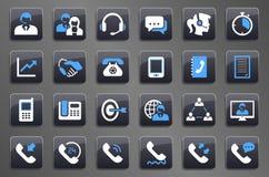 24 Grey Call Center Communication Button-Ikonen vektor abbildung