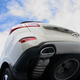 The grey car. The grey car against the cloudy sky. The bottom view Royalty Free Stock Photo