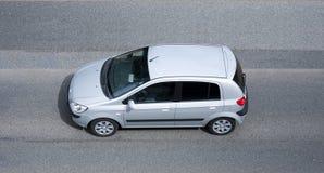 Grey car. Seen from above birds eye view Royalty Free Stock Photos