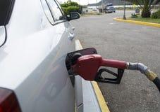 Grey car at gas station. Stock Photos