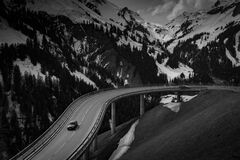 Grey Car on Road Near Snow Covered Mountain Stock Image