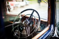 Grey Car Steering Wheel during Daytime Royalty Free Stock Images