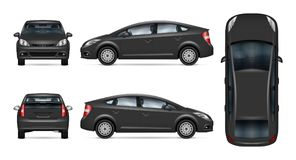 Grey car vector template. Car vector mock-up. Isolated template of grey automobile on white background. Vehicle branding mockup. Side, front, back, top view. All stock illustration